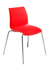 Laser Chrome & Plastic Stacking Side Chair in Red